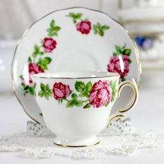 Royal Vale Duo, Vintage Teacup, Tea Cup and Saucer, Deep Pink Roses