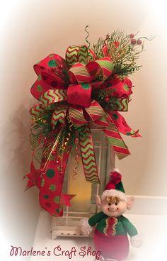 Christmas Lantern bow- Christmas Tree Topper RED -LIME GREEN-Lantern Decoration- Lantern Topper- Lantern Swag- Christmas Tree Bow by MarlenesCraftShop on Etsy
