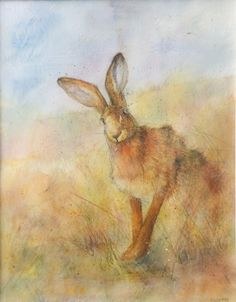 Cyngeth (Female Hare) by Kate Wyatt - Original watercolour available at Love Art Gallery, Nantwich
