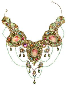 Michal Negrin Multicolor made with Crystals Victorian Necklace