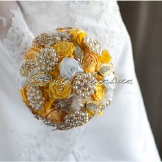 Yellow Wedding Brooch Bouquet Honey Lemon Rustic Yellow Gold and... ($195) ❤ liked on Polyvore featuring jewelry, brooches, bouquets, decorations, grey, weddings, gold brooch, bride flower crown, bridal brooch and gold flower brooch