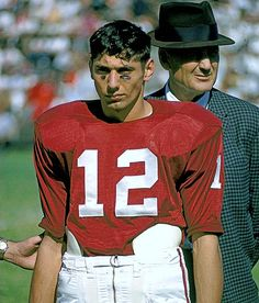 A 19-year-old Joe Namath, with Alabama coach Bear Bryant, watches a game against Tennessee from the sidelines. 1962 Sports Illustrated