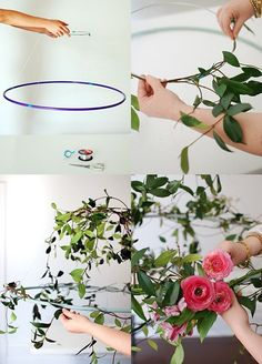 Step-by-step: How to wrap flowers and vines around your wire circle, via http://WeeBirdy.com