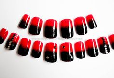 Black and Red Ombre Nails 3D Rhinestones Artificial by niceclaws, $15.00