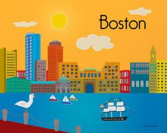 Boston Cityscape Poster Illustration Art 8x10 Massachusetts Skyline Print USS Constitution unframed
