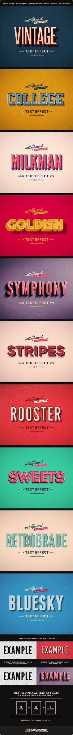 Retro Vintage Text Effects. Create Text effects for your design projects. This graphic resource gives you a quick & easy possibility to apply an high quality retro / vintage / old style to your text. Cool Typography, Vintage Typography, Typography Letters, Graphic Design Typography, Vintage Fonts, Hand Lettering, Gfx Design, Font Design, Retro Design