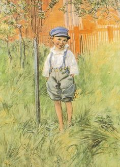 Carl Larsson - Esbjörn and his Apple Tree-Larsson grew up very poor. You can see how delighted he was in his wife and large happy family. His paintings of family joy live on!