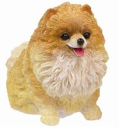 Sitting Red Pomeranian Small Dog Statue $8.95