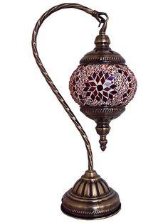 "Abajur Turco ""Mosaico Vermelho"" 38cm - http://www.artesintonia.com.br/abajur-decorativo-mosaico-vermelho-38cm-turco"