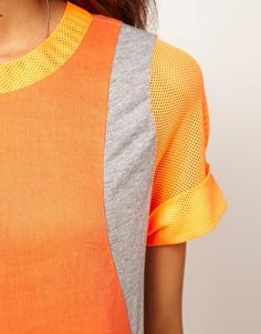 Enlarge ASOS Woven T-Shirt With Jersey And Airtex Panels