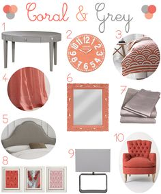 Coral and Grey Bedroom....FUTURE baby girl room?
