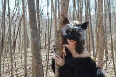 Silver Fox Faux Fur Mask handmade by Spirit Parade door SpiritParade