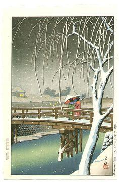 Kawase Hasui Title:Evening Snow, Edo River Date:1932.