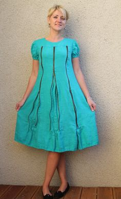 Eco friendly turquoise linen dress with three от rubuartele, $69.00