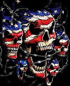 Liquid Blue Skulls Patriotic Skulls Black T-Shirt Tee. Love it or leave it! These patriotic t-shirts exude a certain brand of frontier justice, in-your-face Americana, or just good ol' fashion bad-ass pride. Skull Pictures, Wild Pictures, Skull Artwork, Skull Wallpaper, Confederate Flag, Skull Tattoos, Biker Tattoos, Flag Tattoos, Clown Tattoo