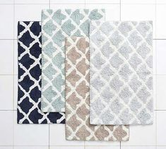 Marlo Jacquard Bath Rug, Dark Porcelain Blue at Pottery Barn Ruffle Shower Curtains, Linen Curtains, Bath Rugs, Bathroom Rugs, Small Bathroom, Pottery Barn Bath, Room Planner, Curtains With Rings, Bedding Collections