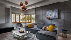 Beton we wnętrzu. Couch, Ceiling Lights, Flooring, Living Room, Furniture, Concrete Walls, Home Decor, Carpets, Interiors