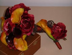 Autumn Calla Lily Rose BOUQUET & BOUTONNIERE SET inTwo Tone Gold Rust Garnet and Chocolate for an Sophisticated Upscale Fall Wedding. $125.00, via Etsy.