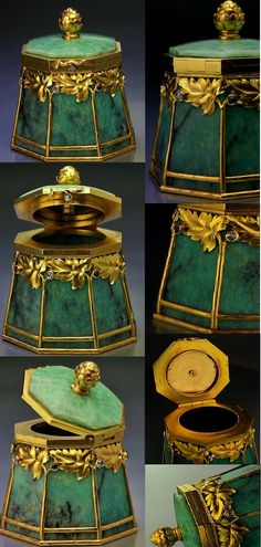A SUPERB antique Russian gold mounted amazonite small box by the firm of Bolin, jeweler of the Imperial Court, made in Moscow between 1899 and 1908, workmaster Ivan Antonovich Flink.