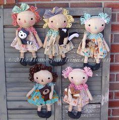 Primititve raggedy doll pattern Woodlands Doll by CindysHomespun Sock Dolls, Felt Dolls, Rag Dolls, Felt Doll Patterns, Tilda Toy, Primitive Patterns, Ann Doll, Felt Birds, Tiny Dolls