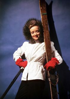 Bette Davis gearing up for a day of skiing. #fashion #skifashion #helmethuggers
