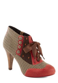 Mix and Match Heel by Poetic License - Houndstooth, Print, Buttons, Scallops, High, Best, Leather, Multi, Red, Brown, Tan / Cream, Party, Work, Vintage Inspired, 20s, 30s, 40s, Variation