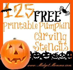 125 FREE Pumpkin Stencils Printable to give me ideas for creative quilted projects.