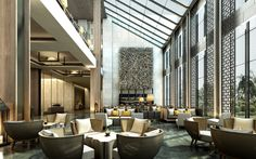 Lobby Lounge in china Hotel Lounge, Lobby Lounge, Bar Lounge, Lobby Interior, Luxury Interior, Interior And Exterior, Lounge Design, Design Design, Pasadena Hotels