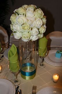 Turquoise and Green Centerpiece