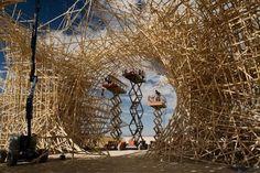Arquitectura efímera: Arne Quinze en el Burning Man Festival. Arne Quinze, diseñador del estudio Quinze & Milan, realizó para el festival Burning Man una gigantezca estructura de madera cuyo objetivo era ser quemada como final de la fiesta. La obra de Quinze es una versión agrandada de instalaciones que ha realizado en Londres, Colonia y Miami y necesito 150 km de listones de madera.