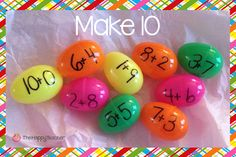 Making 10 using plastic Easter eggs. Great Easter math activity that is fun for kids and easy to set up! Easter Activities, Spring Activities, Classroom Activities, Preschool Education, Baby Education, Preschool Math, Teaching Activities, Simple Math, Easy Math