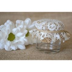 Mini Jar favor with burlap and vintage lace cover. Hessian farmhouse rustic chic favour. DIY kit ($2.08) found on Polyvore