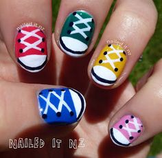 Nailed It NZ: Nail art for short nails – Chuck Taylors/shoe nails! Nailed It NZ: Nail art for short nails – Chuck Taylors/shoe nails! Converse Nails, Shoe Nails, Diy Nails, Converse Sneakers, Fancy Nails, Pretty Nails, Sneaker Nails, Short Nails Art, Ideias Diy
