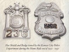 Hat Shield and Badge issued by the Kansas City Police Department during the Home Rule era of 1932-1937