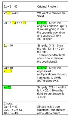 solving two step algebra equations