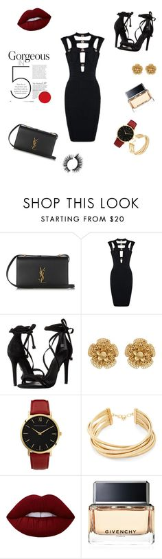"""""""Untitled #19"""" by enakalesiic ❤ liked on Polyvore featuring Yves Saint Laurent, Schutz, Miriam Haskell, Larsson & Jennings, BCBGMAXAZRIA, Lime Crime and Givenchy"""