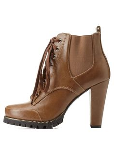 Camel Lug Sole Side-Gored Combat Booties by C Label at Charlotte Russe
