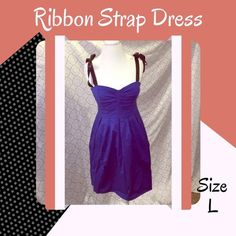 • Blue Ribbon and Bow Strap Dress Blue cotton a-line •  ribbon straps tie into bow • Back has a stretch fit and ties • Good condition! No rips, stains, holes or other damages • All items come from a pet & smoke free home • My prices fluctuate from time to time so catch items when prices are low • I accept REASONABLE offers and I discount bundles • Not interested in trading or selling items off PoshMark • ✌🏻️❤️🛍 Dresses