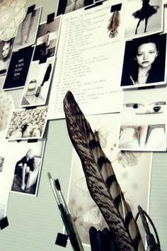 Fashion Moodboard - modern minimalism & fragile beauty in nature; soft sage, black, white; fashion design inspirations