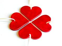 Wedding Favor Ceramic Red Hearts Ornaments Minimalist by Ceraminic