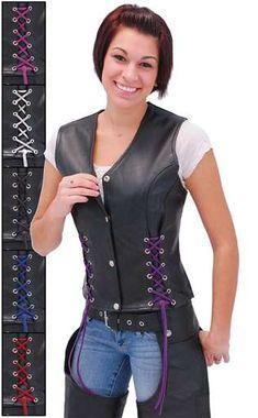 Black Leather Vest w Custom Color Corset Lacing  VL2687LLK 3c23a0786cf3