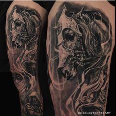 af5e4754d Black and grey horse tattoo sleeve Full Sleeve Tattoos, Cool Arm Tattoos,  Arm Tattoos