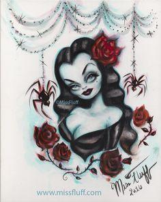 Vampire Vixen with roses and black widows. Inspired by #vampira. Original Art by Claudette Barjoud, a.k.a Miss Fluff. www.missfluff.com #halloweenart #vampires #vampira #missfluff #vampireart #gothart #goth #darkart #horrorart