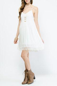 Crochet Trim Babydoll Dress $18.99