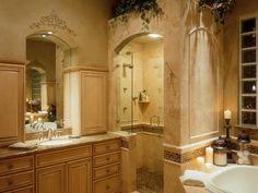 DETAILED TILING IN MASTER BATH - I like how the shower feels sort of like it's own little room.