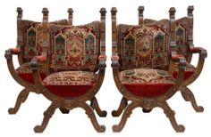 PAIR 19TH CENTURY CARVED OAK X FRAME THRONE ARMCHAIRS