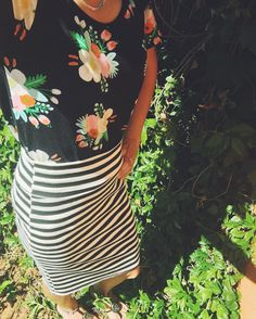 """""""Mixing prints today! A striped Cassie is such a versatile piece to add to your wardrobe!  #patternmixing #myfavoritecassie #mycassieaddiction…"""""""