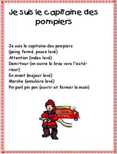 comptine pompiers French Poems, French Classroom, Kids Songs, Childhood Education, Social Studies, Transportation, Firefighter, Language, Preschool