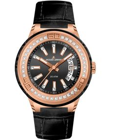 Jacques LEMANS Miami Crystal Ladies Black Leather Strap Η τιμή μας: 168€ http://www.oroloi.gr/product_info.php?products_id=34752
