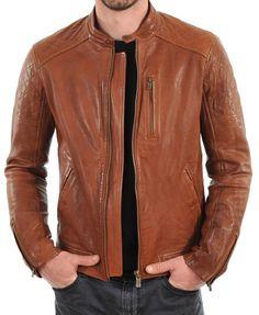 New Men's Genuine Lambskin Leather Jacket TAN Slim fit Biker Motorcycle jacket Lambskin Leather Jacket, Biker Leather, Leather Men, Leather Jackets, Brown Leather, Motorcycle Leather, Real Leather, Motorcycle Fashion, Leather Fashion